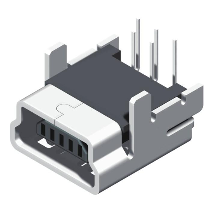 Mini USB B Type Female Dip R/A 5P