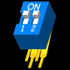 DIP Switch DIP 90° H=9.9mm 2 Port