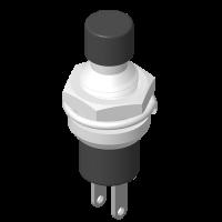 Push Button Switch 2P Panel Mount H=20.6mm Black