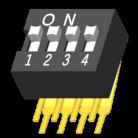 DIP Switch DIP 90° H=9.9mm 4 Port
